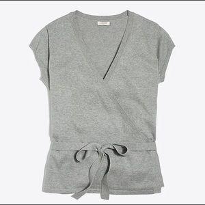 J Crew short sleeve wrap sweater